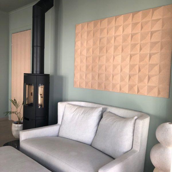 Dekorative veggfliser i nydelig 3D mønster i kork