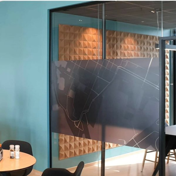 Moderne 3D kork fliser i fargen natur på kontor på Barcode i Oslo