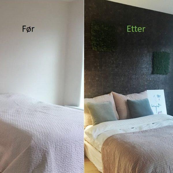 Før og etter bilder av kokosnøtt på soverom