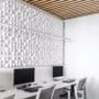 Lydpanel kombinert med spilehimling på kontor