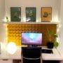 Dekorative kork fliser på hjemmekontor