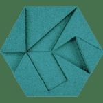 kork vegg i modellen hexagon