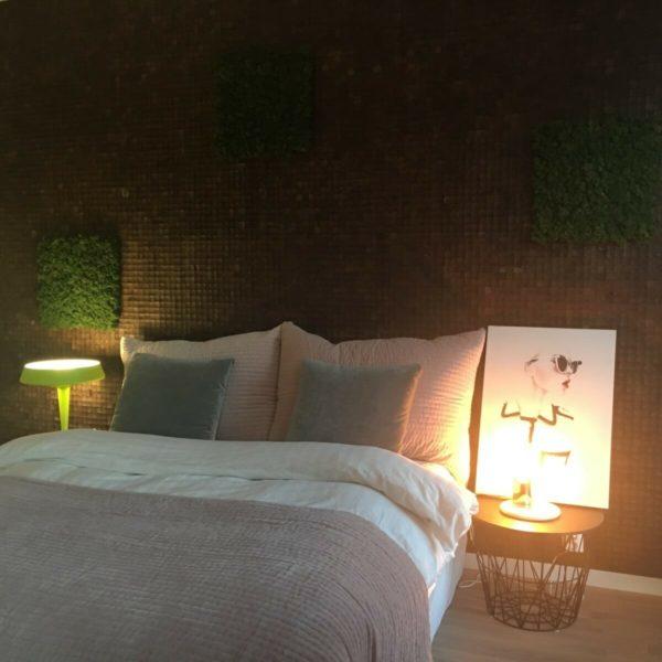Kokosnøtt og mose som sengegavl på soverom