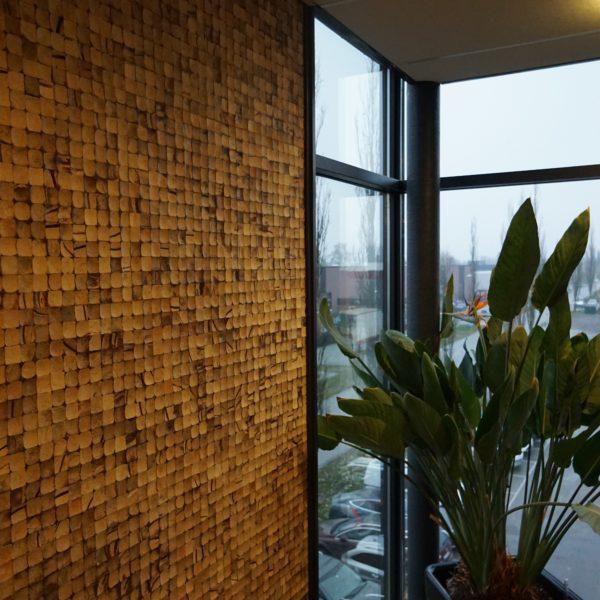 DIY veggpanel i kokosnøtt på kontor