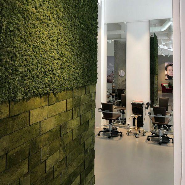 Nydelig kork vegg og mose vegg hos frisøren Adam og Eva i Bergen