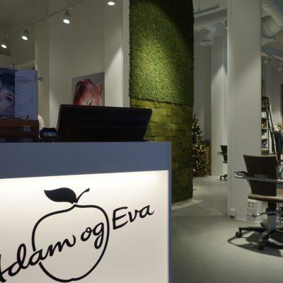 Mose vegg og kork vegg hos frisørsalongen Adam og Eva i Bergen