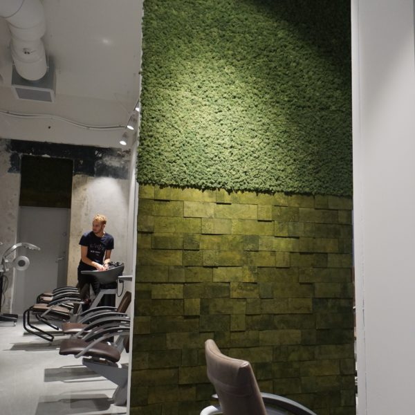 Grønn kork- og mose vegg