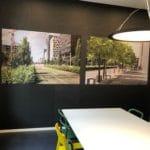 Fotoprint på akustikkpanel på kontor i Oslo