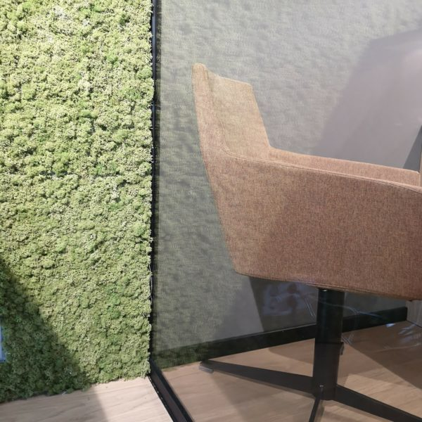 Vakkert detaljbilde av mose vegg på kontor i Ålesund