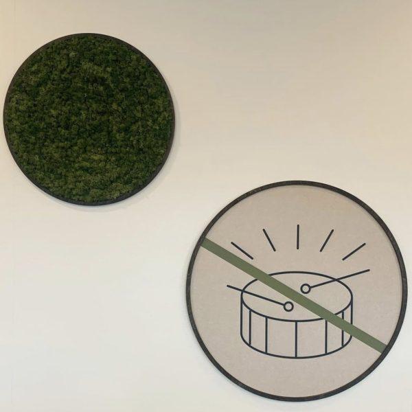 Mose og lyddempende panel på kontoret til Sopra Steria