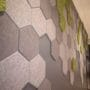 Dekorative hexagon fliser i mose og tekstil
