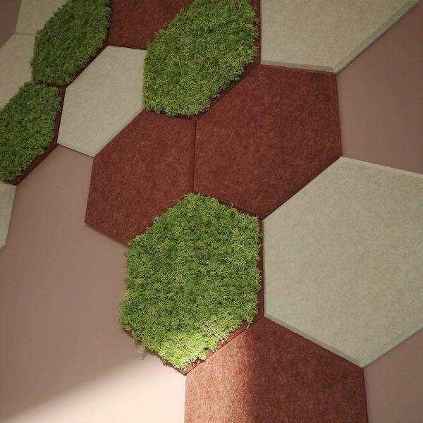 Kombinerte hexagon fliser i mose og tekstil