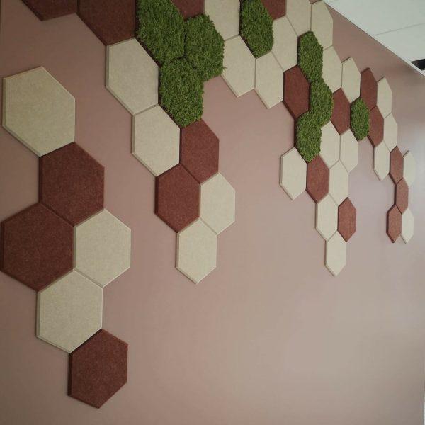 Vegg med hexagon fliser
